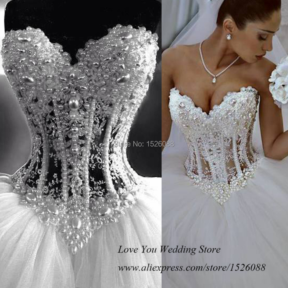 Real Pearls White Ball Gown Wedding Dresses 2015 Vestidos de Casamento Real Sample Bridal Gowns Tulle