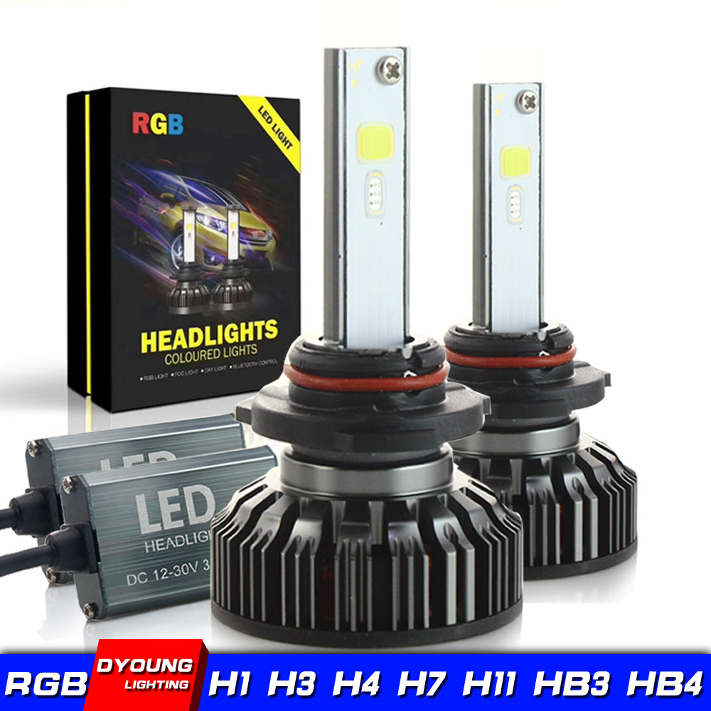 Dyoung 2pcs h7 <font><b>h4</b></font> <font><b>rgb</b></font> headlight Lamp Kit Bulb H8 H11 H13 9005 9006 LED Light Headlamp Bluetooth Phone Sound Light Control Canbus image