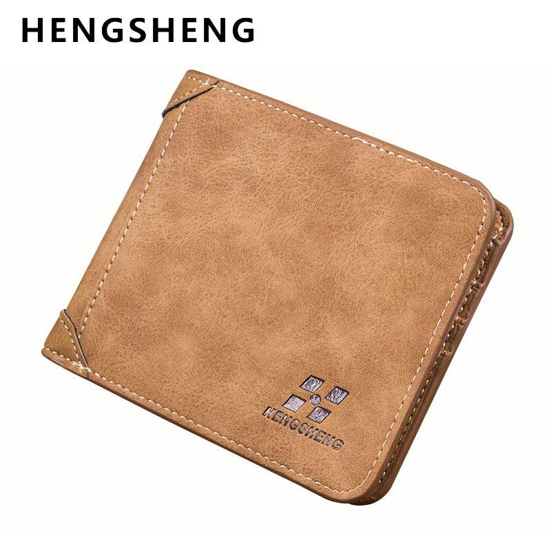 HENGSHENG 2017 Vintage Brand Male Leather Wallets Short Designer Wallet Purse Man Card Holder Walet for Men Free Shipping