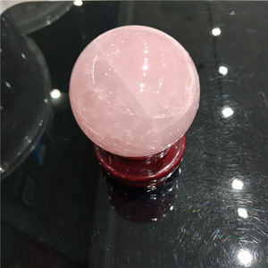 Image 5 - DHXYZB 55 60mm powder crystal with wood stand ofice kinds of natural pink crystal rose quartz sphere ball healing free shipping