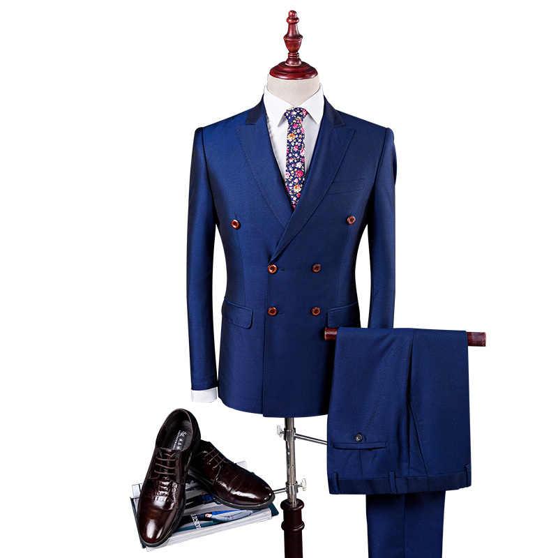 ダブルブレストスーツ男性スリムフィットの結婚式のスーツ黒ロイヤルブルーロイヤルブルータキシードジャケット + パンツ + ベスト