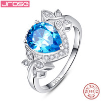 Jrose Wedding Engagement Jewelry 925 Sterling Silver Ring Dazzling Gift Blue CZ Ring 3.85 Carat Pear Cut Water Drop Shape