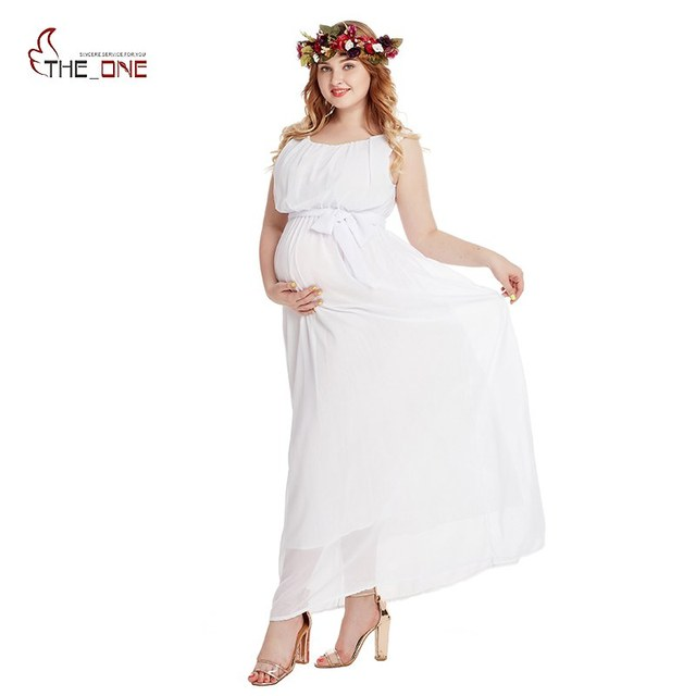 5a57cc23a7a MUABABY Woman Maternity Clothes Sleeveless Chiffon Evening Gown for Pregnant  Photography Baby Shower Pleated Party Maxi