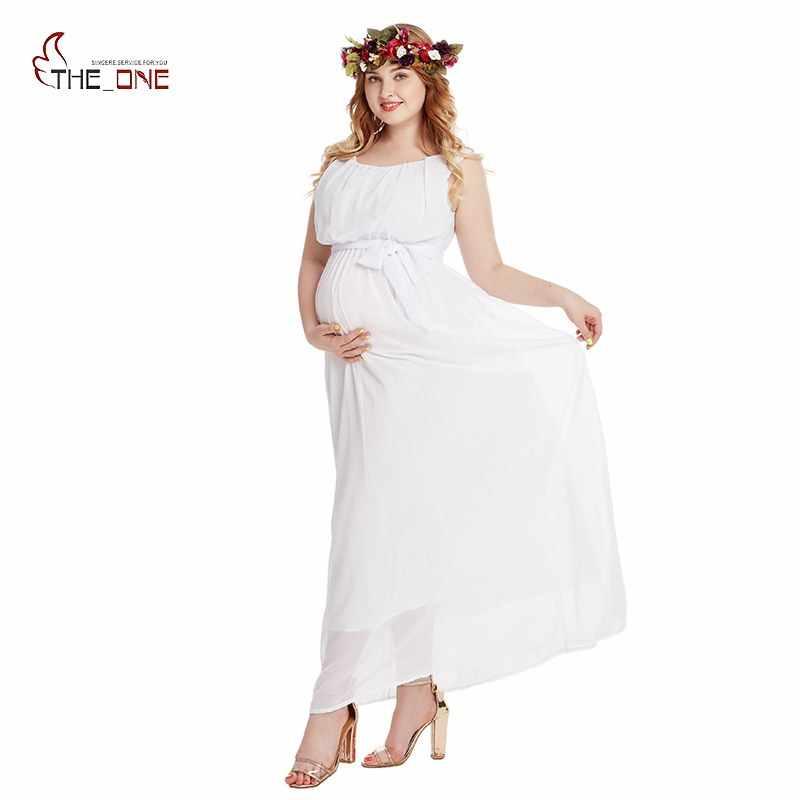 17dfcea71 MUABABY mujer maternidad ropa sin mangas gasa vestido de noche para  Embarazadas Fotografía Baby Shower plisado