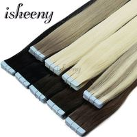 Isheeny 18 inches 2g/pc Remy Tape In Human Hair Extension Full Cuticle Seamless Straight PU Skin Weft Extensions Get Tools Free
