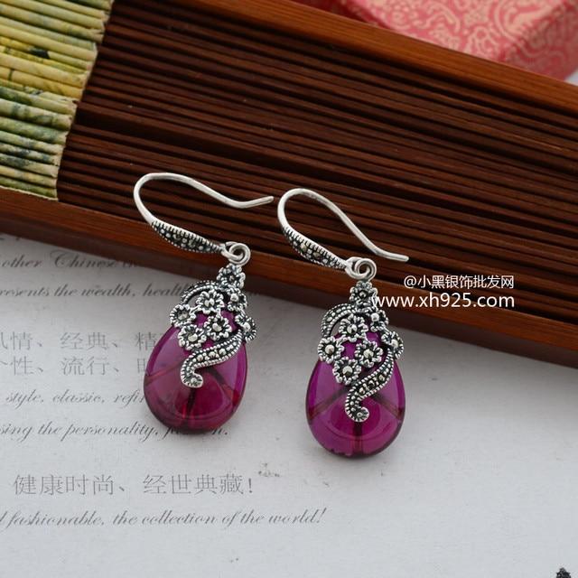 Черный серебро 925 ретро тайский серебро инкрустированные марк isa xh033531 сразу