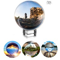 H&D 100mm Photograph Crystal Ball with Stand,Crystal Suncatchers Ball with Microfiber Pouch,Decorative and Photography Accessory