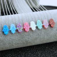 Arabic Blue Hamsa Hand Opal Pendant Fatima Hand Necklace 925 Silver Women Choker Necklace Jewelry Collier Femme Choker Bijoux