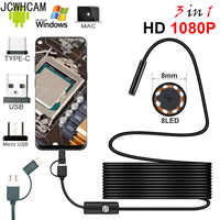 Full HD 1080p Endoscope Camera MicroUsb Type-C Android Smartphone 2M 5M 10m Hard Flexible Wire 8mm Endoscopy Camera Inspection