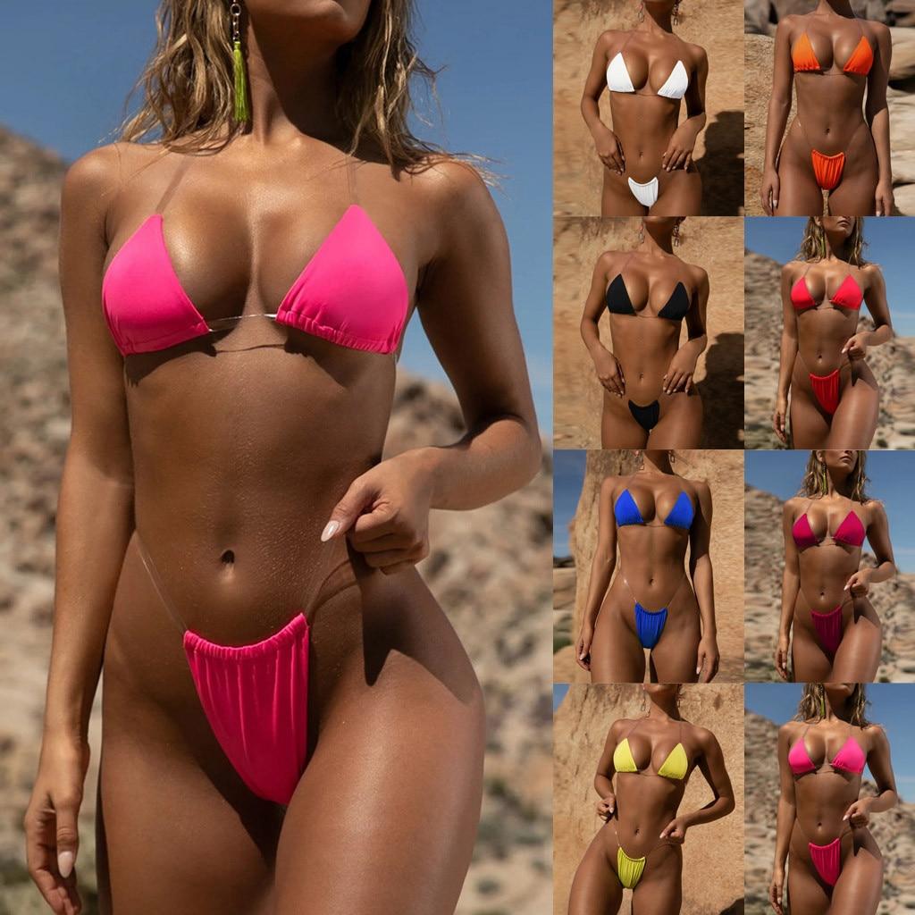 HTB1dbj3avc3T1VjSZLeq6zZsVXaD Transparent micro bikini 2019 Sexy thong swimsuit separate Bandeau Bikini Set Push-Up Clear Strap Brazilian Swimwear Biquini #H