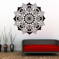 DCTOP Vinyl Mandalas Wall Decals Indian Pattern Yoga Flowers Wall Stickers Self Adhesive Art Mural For Bedroom Home Decor