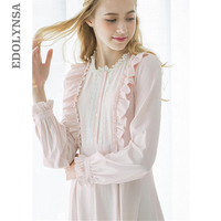 Autumn Cotton Long Nightgowns Women Lace Sweet Vintage Romantic Sleepwear White Sweet Home Dress Plus Size Nightdress #LL24
