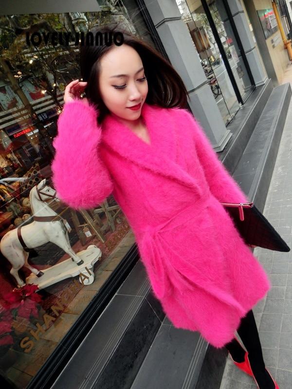 Europe miserable beauty female Angora fur mink cashmere sweater coat loose long cardigan coat bag mail Free Shipping JN11