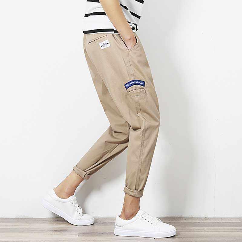 สไตล์ญี่ปุ่นผู้ชาย Harem Joggers กางเกง Casual Slim Beam เท้า Tappered กางเกง Elastic เอวข้อเท้าความยาวกางเกงเสื้อผ้า