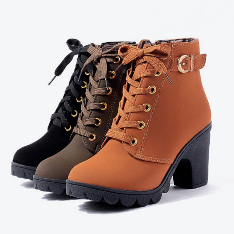 Mcckle Plus Size Ankle Boots Women Platform High Heels Buckle Shoes Thick Heel Short Boot Ladies Casual Footwear Drop Shipping #3