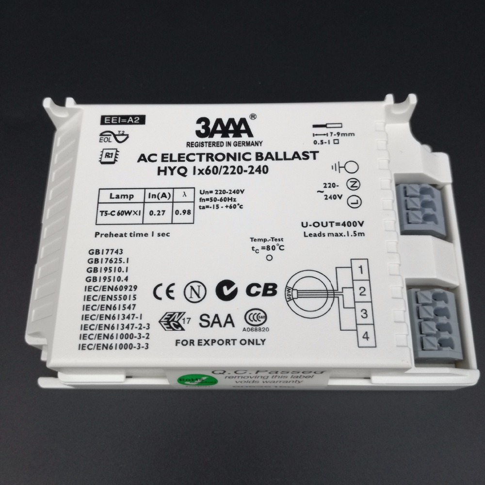 3AAA Instant Start AC Electronic Ballast T5 HYQ 1X60W /220-240 for T5 60W Looped Fluorescent Lamp 60w square shape induction lamp ac220v ac110v ac 100 300v lvd lamp electrodeless discharge lamp 2700k 6500k 100 000hs ballast