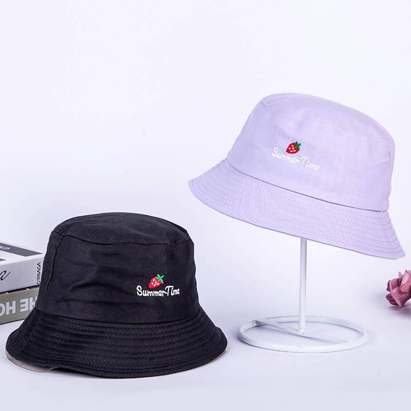 2018 Baumwolle Erdbeere Brief Eimer Hut Fischer Hut Im Freien Reise Hut Faltbare Sonne Kappe Hüte Für Männer Und Frauen 527 Elegant Und Anmutig