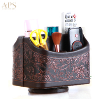PU Leather 360 Degrees Rotatable Remote Control Holder 5 Compartments Control Storage Organizer TV Remote Caddy