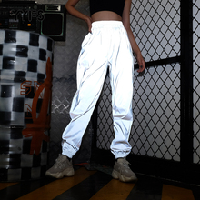 Yyfs フラッシュ反射ジョガーパンツ 2019 秋の女性ヒップホップダンスショーパーティーの夜カジュアルグレー固体ストリートズボン mujer