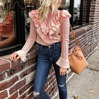 Affogatoo Elegant ruffle hollow out winter sweater Women knitting vintage pullover 2018 O neck casual white jumper pull femme