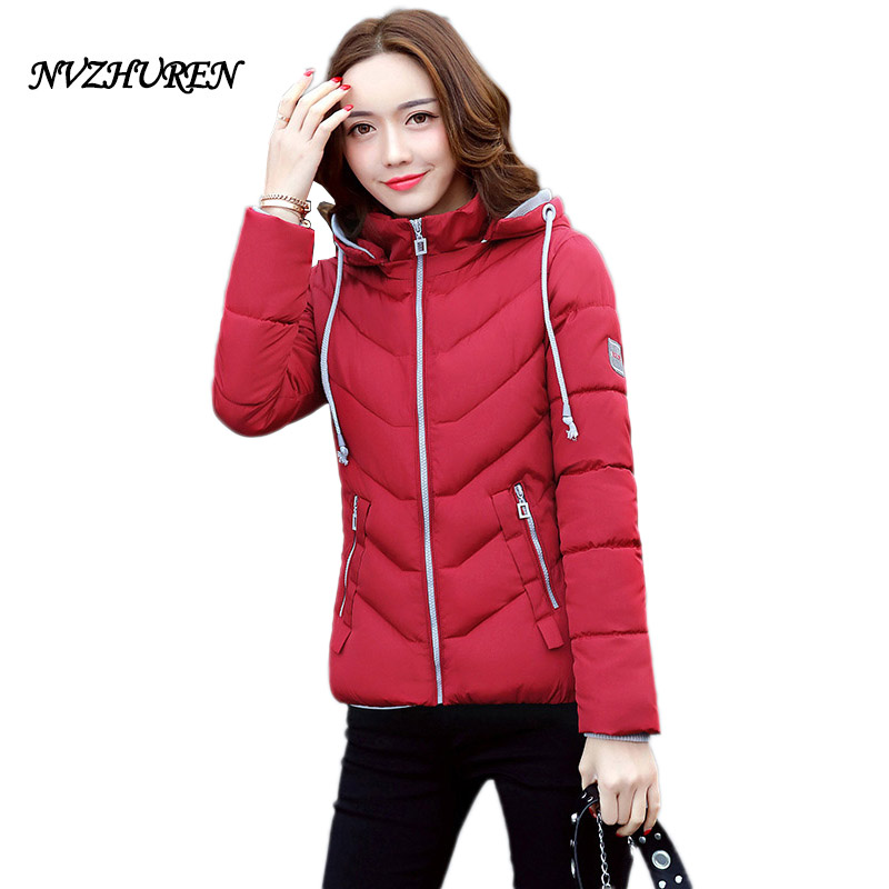 NVZHUREN Winter Jacket For Women Cotton Short Jacket New Padded Slim Hooded Warm Parkas Coat Female Autumn Outerwear Coats 2016 new fashion autumn winter women basic jacket coat female slim hooded brand cotton coats