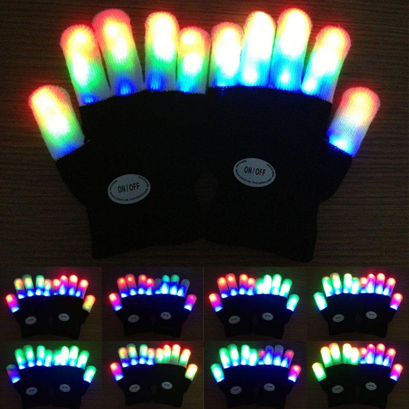 7 Colors New Kids Fingertip LED Gloves Rainbow Flash Light Glow Stick Gloves Mittens