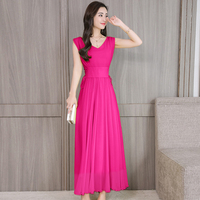 Women Summer Chiffion Dresses 2019 New Fashion V neck pullover sleeveless Long Dress Solid color Slim Plus size Dress
