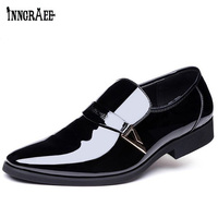 7151f04c9768 2018 Slip On Business Wedding Patent Leather Oxford Shoes For Men Dress  Shoes Pointed Toe Men Formal Shoes 38-48 B1116