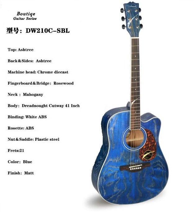 BLUE COLOR ashwood electric acoustic guitar 41inch free accessories цена