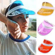 Summer Hat Plastic Visor Caps New Children Boy Girls Travel Hats Baby PVC Topless Letter Printed UV Protective Gorras Beach Hat