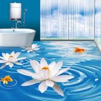 Custom 3D Mural Wallpaper PVC Self Adhesive Waterproof Bathroom Bedroom 3D Floor Tiles Sticker Modern White