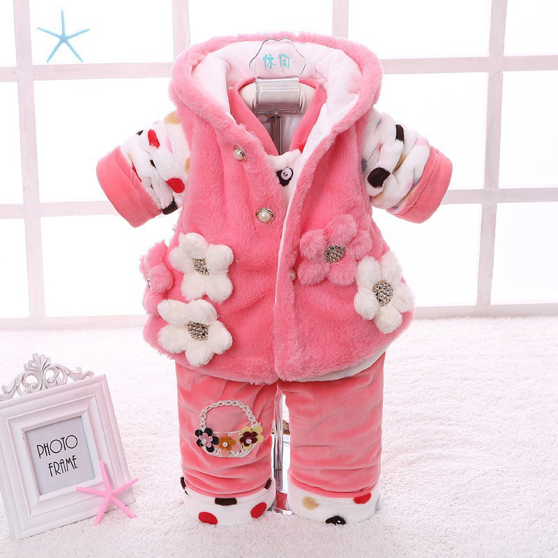 3Pcs Baby Girls Cotton-padded Outfits Sets Cute Floral Tops Vest Jacket+Pullover+Long Pants Super Soft Winter Warm Clothes