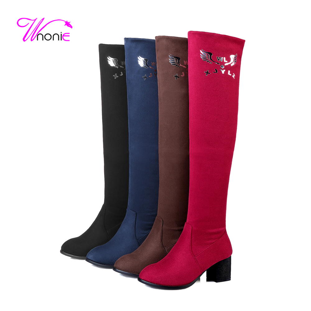 ФОТО 2017 Fashion Woman's Long Boots Riding Knee-High Square Heel Glitter Suede Warm Plush Casual Party Daily Winter Boots Lady Shoes