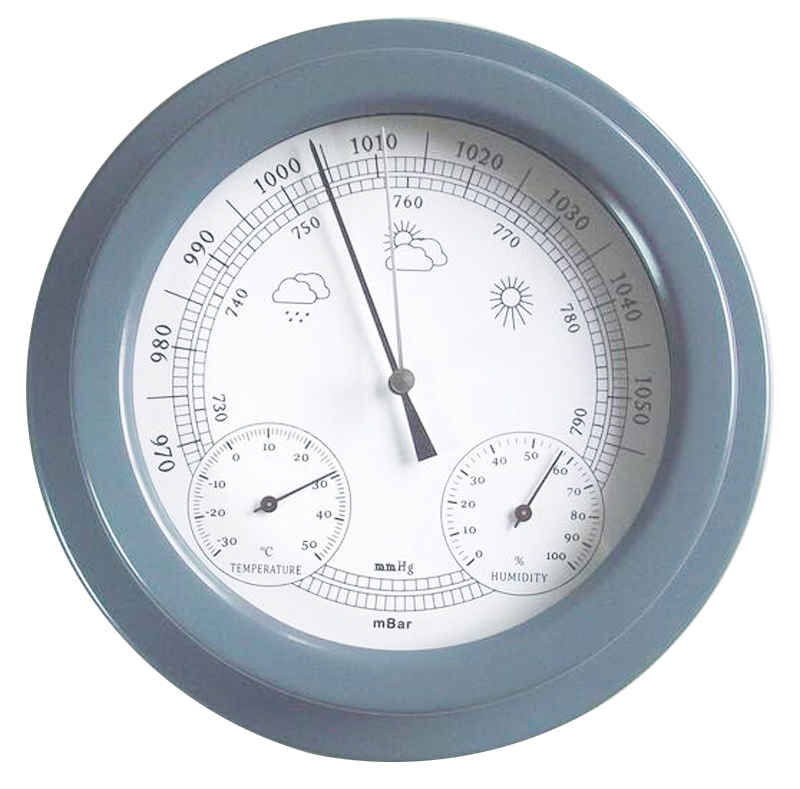 THB9365 22.5CM Thermometer Hygrometer Barometer Weather Station Acrylic dark Grey Finish Barometer with Temperature and Hygromet european style dark gray 22 5cm 3 in 1 thermometer hygrometer barometer weather station