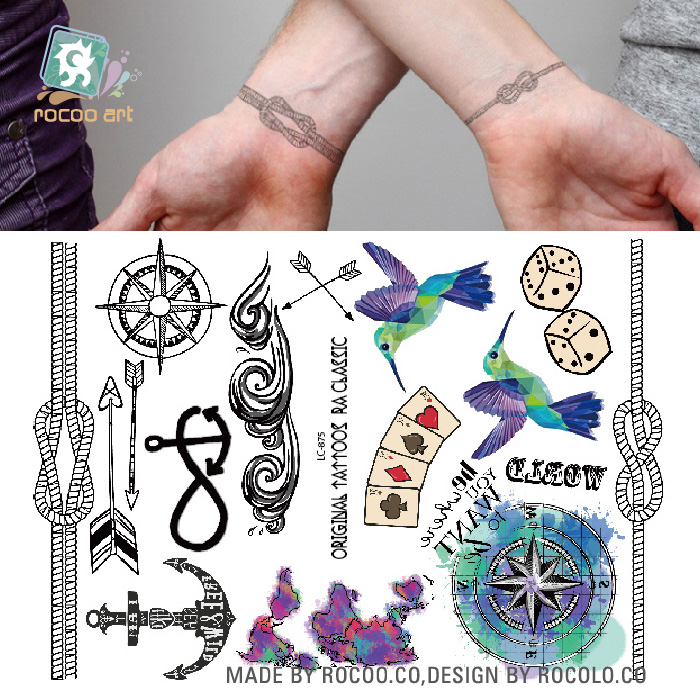 lc 875 hipster favorite temporary body tattoo hummingbird dice rope