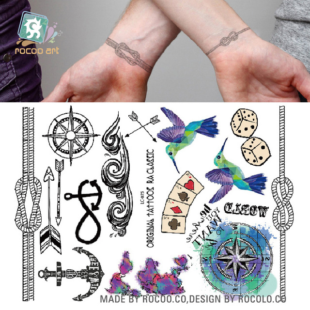 LC 875/Hipster Favorite Temporary Body Tattoo Hummingbird Dice Rope ...