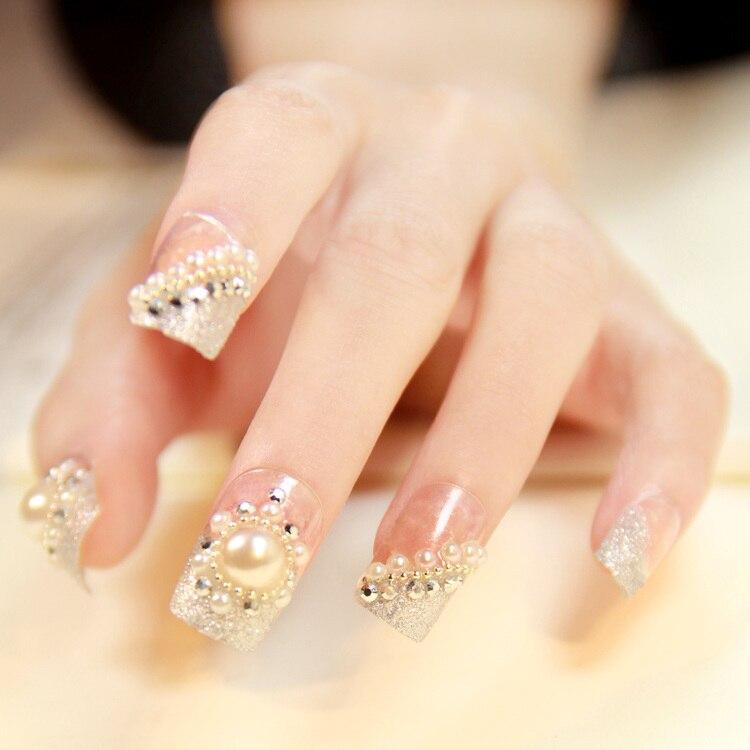 Gorgeous Pearl girl bride wedding Fake nail tips 3D false nails ...