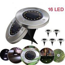 16 Светодиодный наземный светильник на солнечной батарее, садовый светильник с водонепроницаемым датчиком, наружный светильник с дорожкой, светодиодный светильник на солнечной батарее