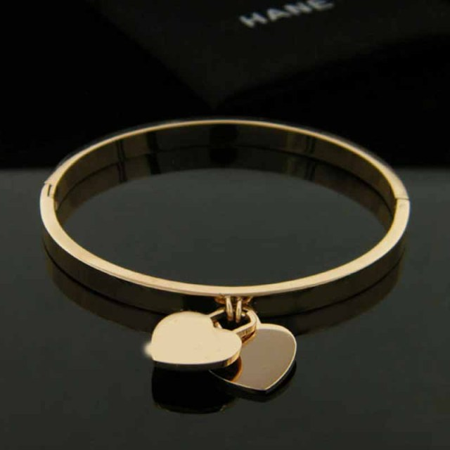 Hot New Fashion Gold Color 316L Stainless Steel Bangels two heart double T letter Bracelets for women jewelry wholesale 1