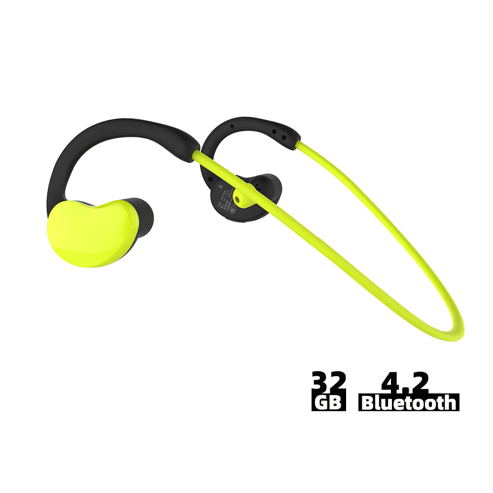 Ralyin 32GB Mp3 Bluetooth Earphone 10 Hours Playtime IPX6 Water-resistant Wireless Earphone Bluetooth Headphone Support OTG Mic