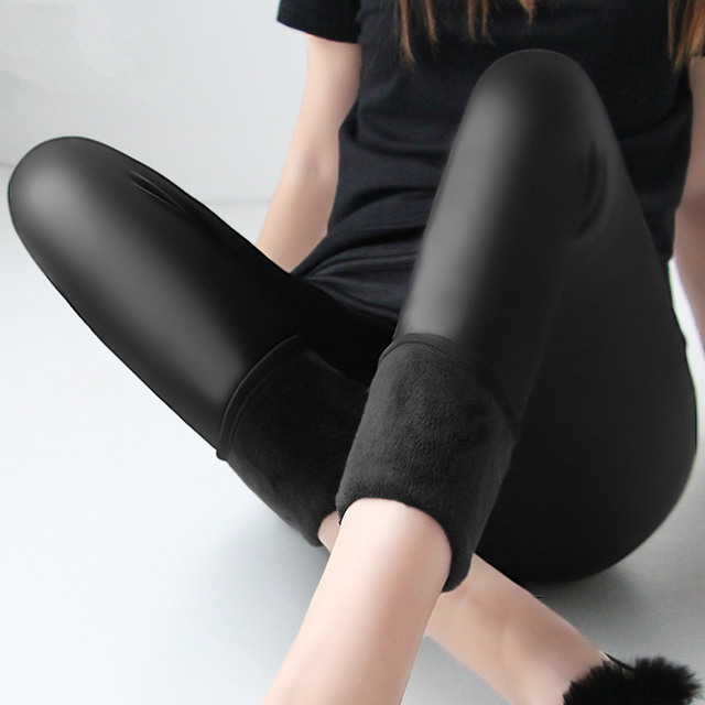 Winter warm 100kg fat MM plus size women plus velvet solid color imitation leather high waist pants Leggings 6XL femme MZ1097