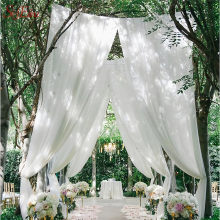 48CM*5M Wedding Decoration Organza Curtains Snow Yarn Gauze Element Sheer Crystal Silk Flower Tutu Arches Party Supplies 8ZSH015