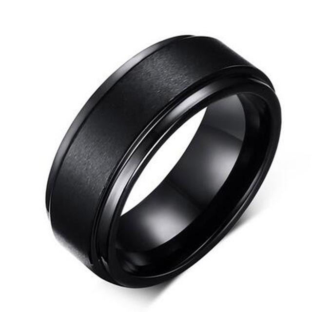 Mens BASE RINGS 8 MM Wedding Band Black Pure Carbide Tungsten Engagement Ring fo