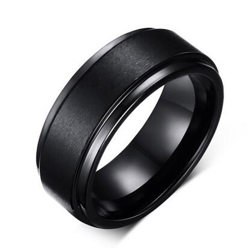 Mens BASE RINGS 8 MM Wedding Band Black Pure Carbide Tungsten Engagement Ring for Men Brushed Mate Center Jewelery