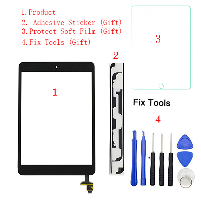 1Pcs For IPad Mini 1 Mini 2 A1432 A1454 A1455 A1489 A1490 A149 Touch Screen Digitizer Sensor+IC Chip Connector Flex+Key Button(China)
