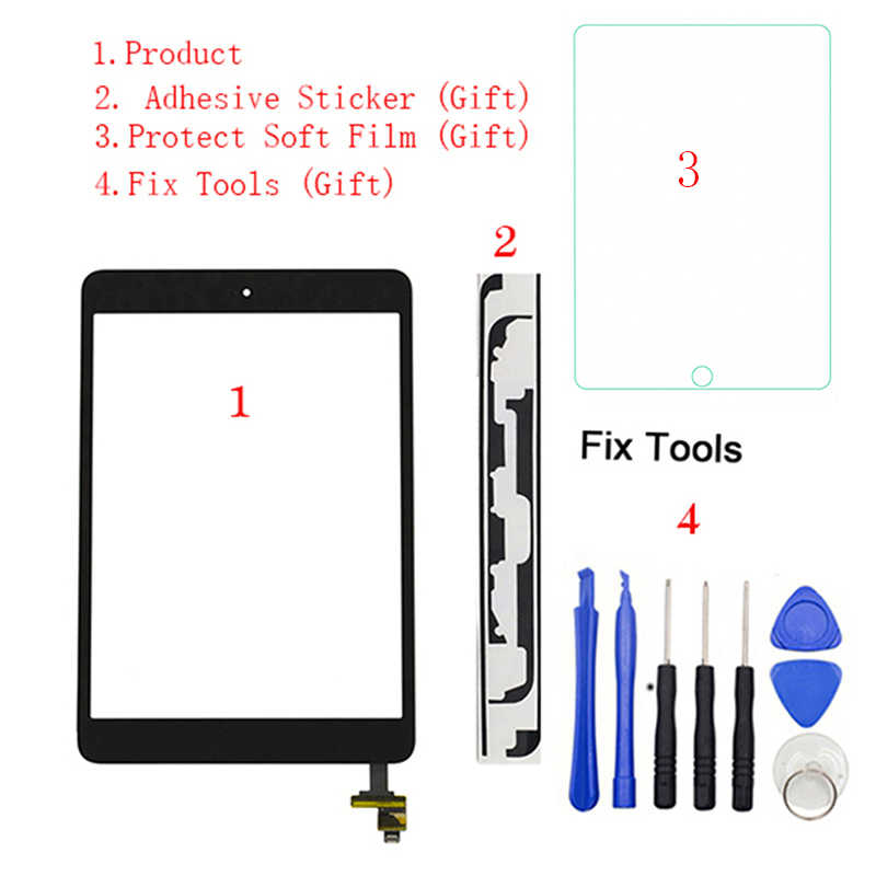 1Pcs Voor iPad Mini 1 Mini 2 A1432 A1454 A1455 A1489 A1490 A149 Touch Screen Digitizer Sensor + IC chip Connector Flex + Key Button