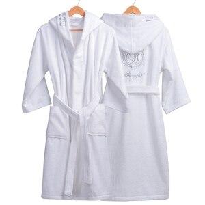 Image 5 - Roupão de inverno Mulheres Grossas Amantes roupão roupão de banho das mulheres espessamento Toalha de banho fleece robe salão peignoir femme badjas polaire