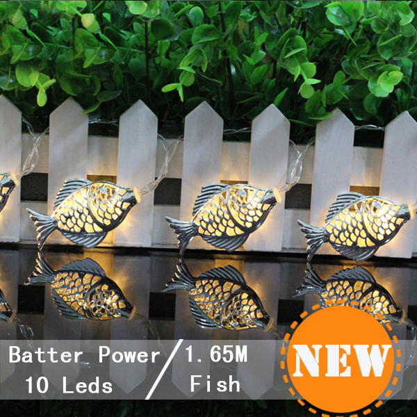7Cm Silver Fish Battery Operated Outdoor Lights Fairy Christmas Lamp Home  Wedding Party Decoration Patio Light