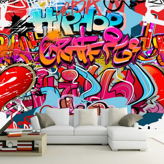 Wallpaper 3d Colorful Street Graffiti Bar Ktv Tooling Background