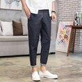 Verão calças de Brim Dos Homens de Linho de Algodão Fino Moda Masculina Casual Denim Calça Harém Hiphop Rua Calças de Brim Longas
